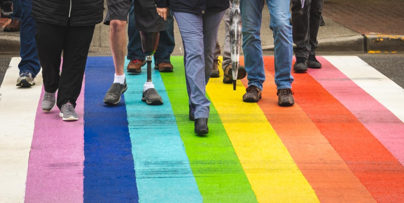 Rainbow crosswalk with legs