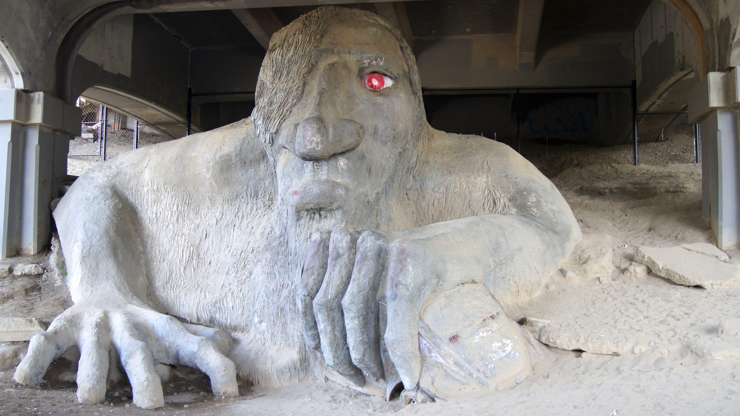 SEATTLE, WASHINGTON STATE, USA - OCTOBER 10, 2014: The famous Fremont Troll under the Aurora Bridge, Washington.