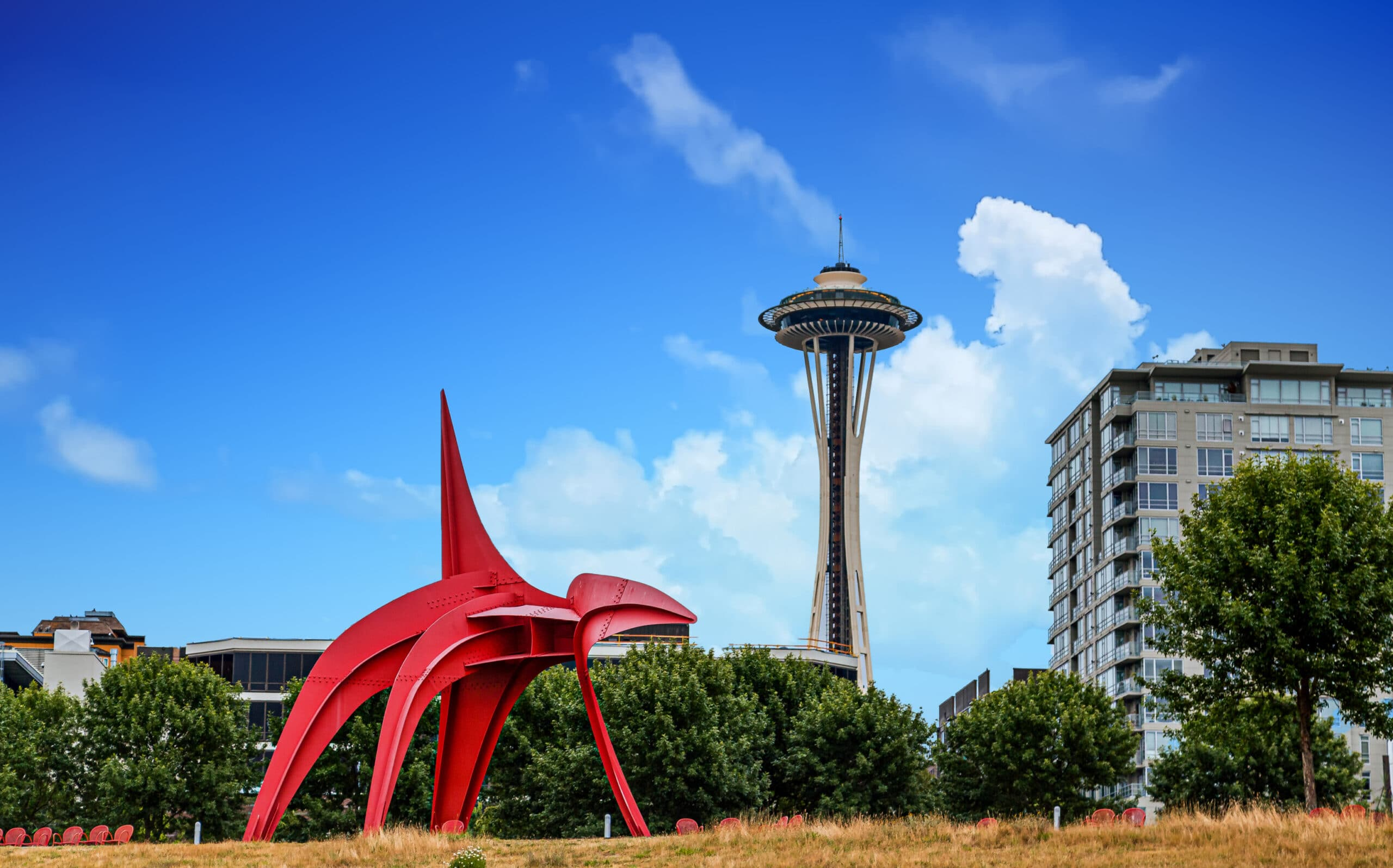 Eagle Sculpture and Space Needle