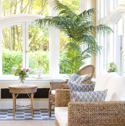 Large leafy palms and light couches rest in the bright and sunny atrium with large glass windows that look out over the gardens.