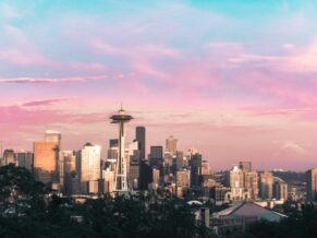 Pink and Blue Cotton Candy Skies over Seattle City Skyline