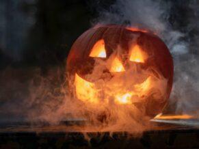 jack o lantern with smoke - Shafer Baillie Mansion